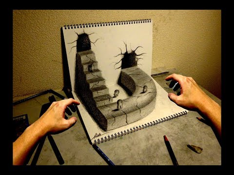 3D Drawing VIDEO (World drawn by pencil) 3Dアート