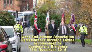 Glasgow West End Somme Association - Remebrance Wreathe Laying