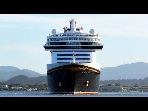 Disney Cruise Line Fantasy Ship Docked in San Juan Heads Out to Sea, Puerto Rico