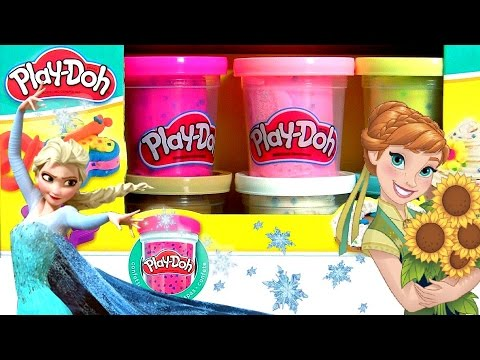 Play Doh Confetti using Glitter Glider Elsa Anna Disney Frozen MagiClip Snow Belle Magic Clip Dolls