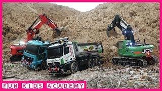 Excavator for Kids - JCB & CAT Excavators, Dump Trucks, Bulldozer , Road Roller - Trucks for Kids