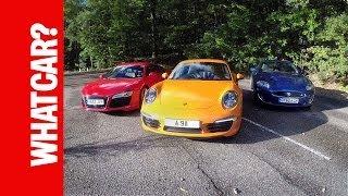 Audi R8 v Porsche 911 v Jaguar XKR - What Car? reviews everyday supercars