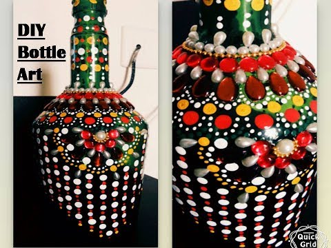 DIY, room decor, easy way to decorate empty bottle with dot art ....