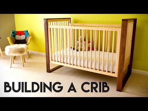 Mid-Century Modern Walnut and Maple Baby Crib // How To - Woodworking