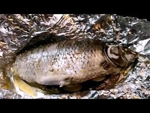 сазан запеченный в духовке в фольге видео