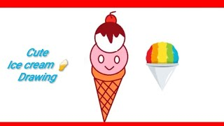 DRAW AND COLORING cute Ice Cream and CupCake / HOW TO DRAW IN MS PAINT/ FAIZA_DRAWINGTV