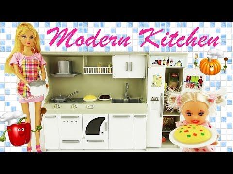 Игрушечная кухня Модерн для кукол Барби. Познавательное видео для девочек / Kitchen for dolls Barbie
