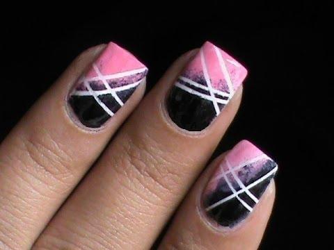 Striping Tape Nail Art Tutorial For Beginners Diy At Home Designs Striping Tape Short Long Nails