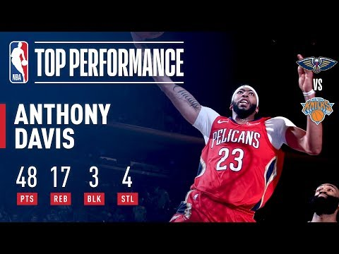 Anthony Davis Throws Up 48 Pts in An OT Win at MSG | January 14, 2018