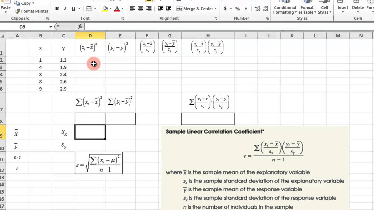 scatter plot and correlation coefficient - excel