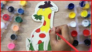 Đồ chơi trẻ em TÔ MÀU NƯỚC HƯƠU CAO CỔ BẰNG GỖ - Coloring giraffe - Toys for kids (Chim Xinh)