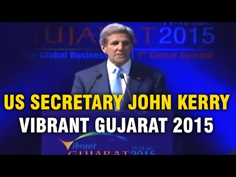 US Secretary John Kerry addresses Vibrant Gujarat Summit 2015 in Gandhinagar