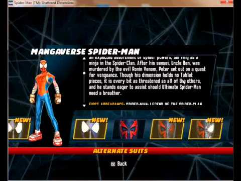 Spiderman Shattered Dimensions pc all costumes