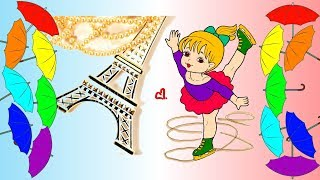 Learn Colors with Colored Markers for Kids Children Toddlers  Girl on Skates Coloring Pages