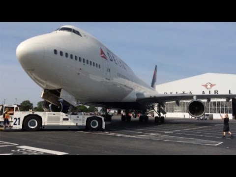 See historic jumbo jet get towed