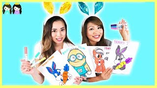 3 MARKER CHALLENGE with Princess ToysReview ! My Little Pony, Minion, and Easter Bunny