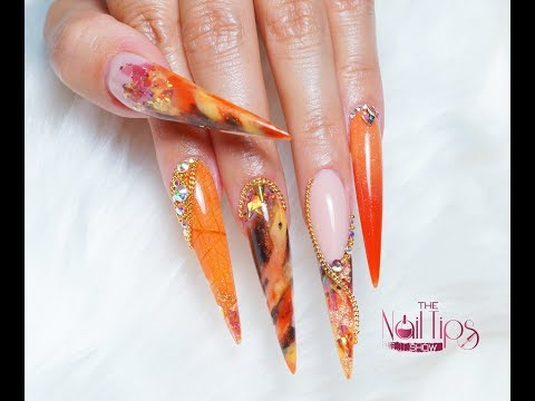 Reverse Acrylic French Nails | Autumn Inspired Nail Design