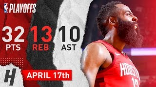 James Harden Triple-Double Game 2 Highlights vs Jazz 2019 NBA Playoffs - 32 Pts, 13 Reb, 10 Ast