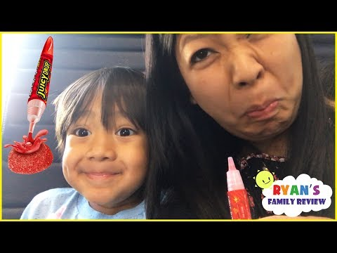 Sour Candy Challenge Kid on the Airplane Surprise Toys Opening with Ryan's Family Review