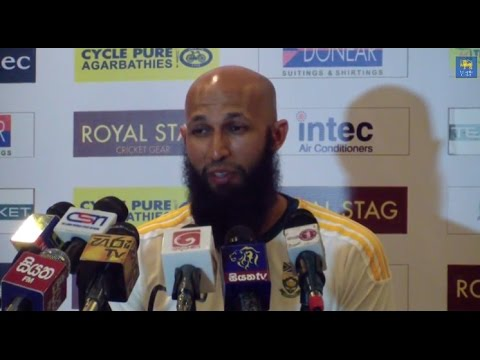 Hashim Amla speaks to media after winning the Test series