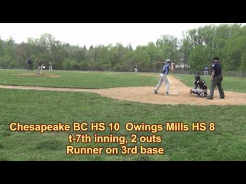 MPSSAA 2A Baseball Regional Playoffs--Chesapeake BC at Owings Mills High School. May 9, 2014