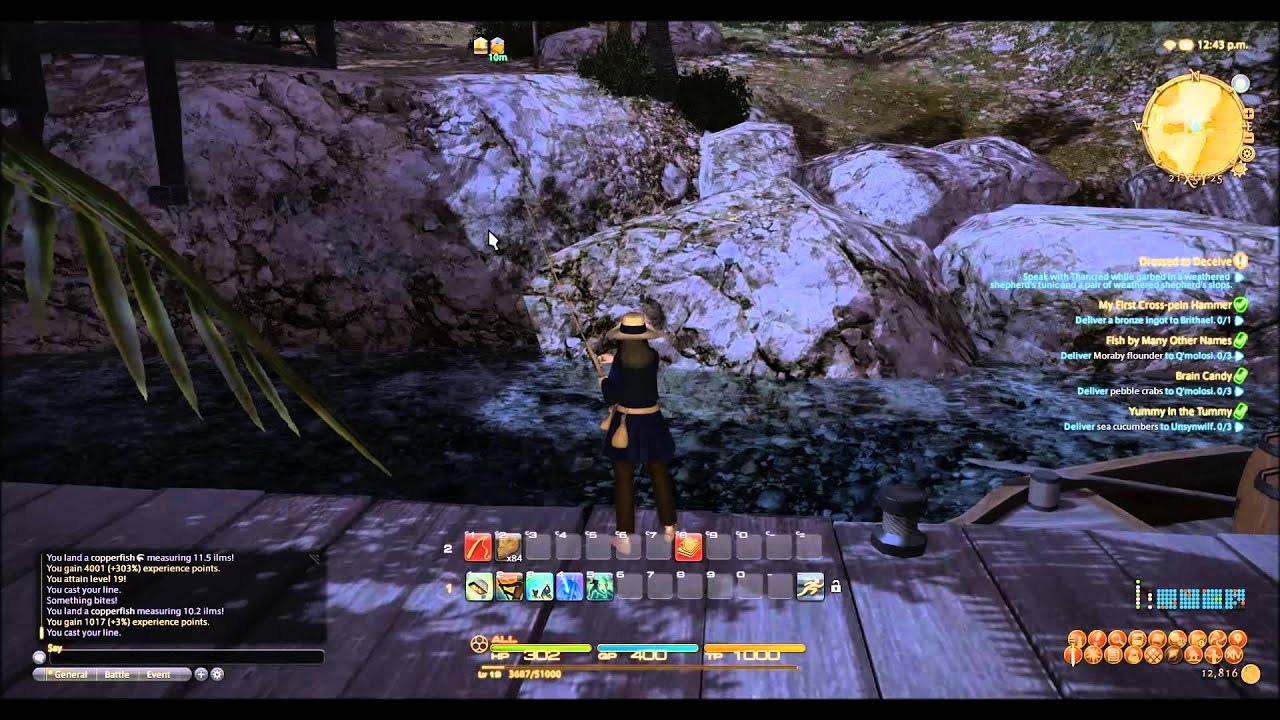 Ffxiv level 16 20 fishing hole youtube for Ffxiv fishing guide