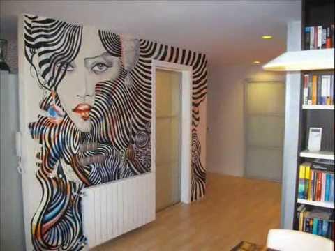 Mural pintado en sal n silueta cara mujer youtube for Como pintar un mural en una pared