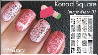 KONAD SQUARE IMAGE PLATE STAMPING NAIL ART | BLUSH PINK FLOWER PRINT DESIGN | HOW TO TUTORIAL