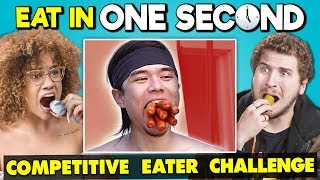 Try To Eat in 1 Second Challenge (Competitive Eating) | People vs. Food