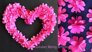 Paper Flower Heart Wall Decoration - Paper Craft - DIY Home Deocration - Paper Flowers
