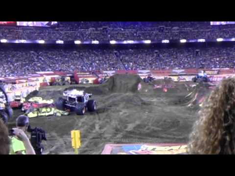 Monster Jam - Max-D attempts a double back flip.