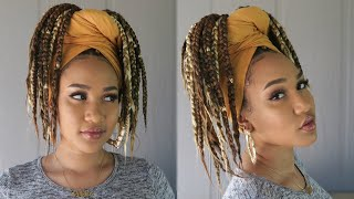 FASTEST Box Braiding Technique + EASY Head Wrap Style