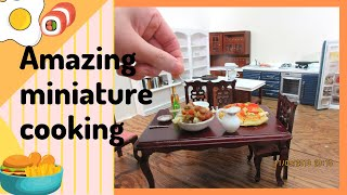 Miniature cooiking in Miniature space - Tiny edible food- Kitchen & Living room arrangement