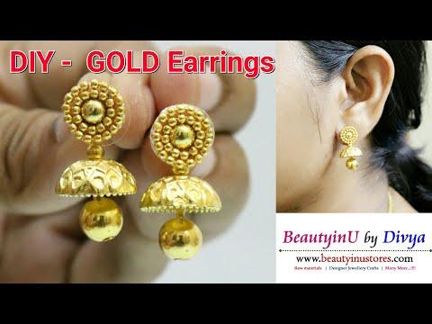 DIY // Making of Gold Earrings in 5 Minutes // Jhumka Earrings // Designer Earrings Tutorial