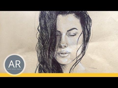 Gesichter zeichnen, Portraits zeichnen lernen. Kugelschreiber-Technik