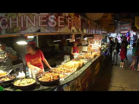 (HD) Walking around looking at the Fast Food, Street Food stalls in Camden Stables Market, London.