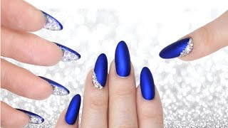 LUXE BLUE VELVET & DIAMOND PEEKABOO NAILS -  DOUBLE SIDED MANI CRYSTAL NAILART