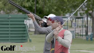 Olympic Skeet Shooter Tries to Shoot Golf Balls Out of the Air | Shotgun Golf | Golf Digest
