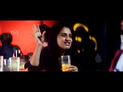 Ramya Drinks alcohol and crazy behaviour in Pub | Adithya | Kannada Movie Comedy Scenes