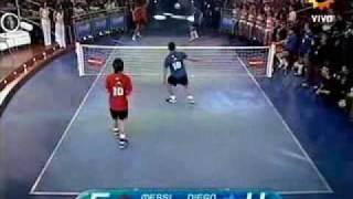 Messi & Tevez VS Maradona & Enzo Football Tennis
