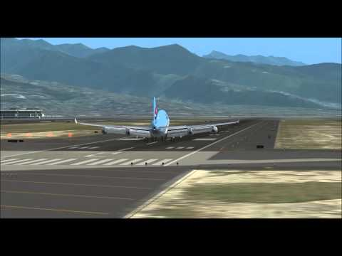 fsx Korean air B744 landing at Honolulu(PHNL,HNL),pmdg 747,fs2crew