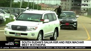 South Sudanese president Salva Kiir meets Ethiopia's Riek Machar