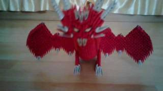 3d Origami Dragon Red