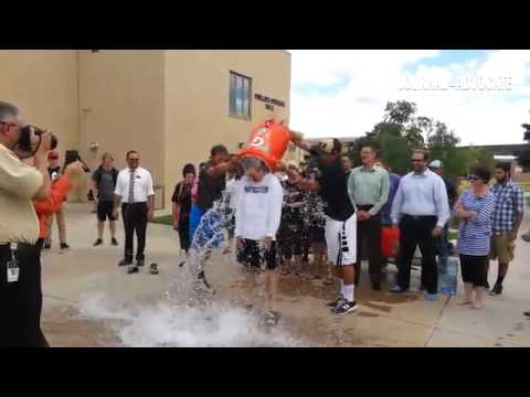 Northeastern Junior College President Jay Lee takes the #ALCIceBucketChallenge along with other facu