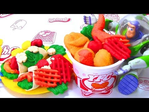 Doh-dough Yummy Fried Chicken Playset with Toy Story 3 Buzz Play Dough Fun Like Play-Doh
