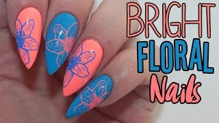 HOW TO: BRIGHT FLORAL ACRYLIC NAILS TUTORIAL