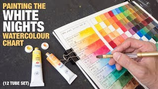 Painting a White Nights watercolour chart (12-tube set)