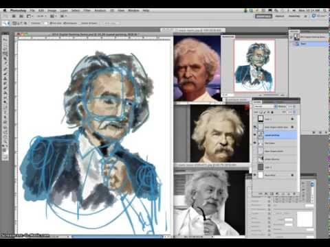 3 Mark Twain Digital Caricature Painting Demo (Aligning Speed Painting with Basic Shapes Template)