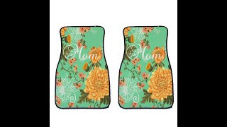 VictoryStore Mom Floral Piece Carpet Car Floor Mat Set - Mother's Day Gift