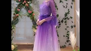 Elegant Lilac Gradient-Color Bridesmaid Dresses 2019